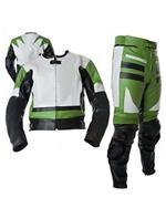 zwei 2 Stück Motorrad-Lederkombi grün weiß schwarz