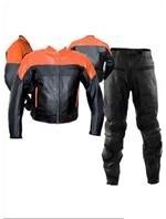zwei Stück orange schwarz Farbe Motorrad Lederkombi
