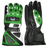 Des gants en cuir de moto verte