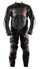 Honda courses de moto noir costume de cuir