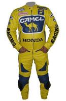 Honda style de chameau combinaison de cuir de couleur jaune