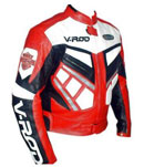 V-ROD veste de moto de course en cuir rouge