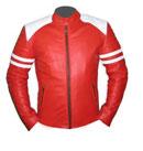 Veste en cuir souple hommes rouge et blanc