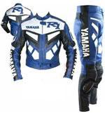 Yamaha R1 cuir moto costume de couleur bleu blanc