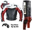 Yamaha R6 Moto costume de cuir noir rouge blanc