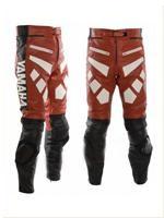 Yamaha moto cuir pantalon rouge