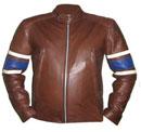 brun foncé élégante veste en cuir souple