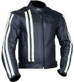 Black Motorcycle Leather Jacket with white strips