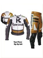 Kawasaki R racing motorbike leather suit