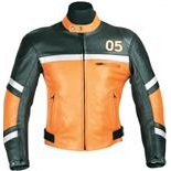 Orange and Black 05 Motorcycle leather jacket