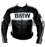 bmw motorrad leather jacket in black white grey colour