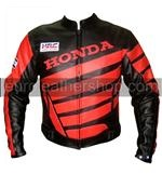 Black Colour Honda Motorcycle Racing Leather Jacket With Red Stripes