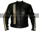 Black Colour Motorcycle Leather Jacket with yellow
