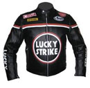 New Stylish Black LUCKY STRIKE Motorcycle Racing Leather Jacket