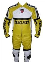 Ducati motorcycle leather suit yellow white colour
