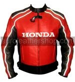 Honda Joe Rocket Red Black Motorcycle Leather Jacket white stripe