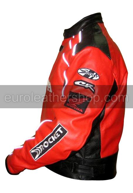 Honda Joe Rocket Red Black Motorcycle Leather Jacket White
