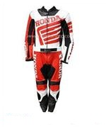 Honda Biker Racing Leather Suit in Black Red White Color