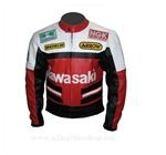 Kawasaki motorcycle biker leather jacket in white red black colour