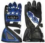 Blue Motorcycle Leather Gloves