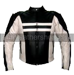 Motorcycle racing leather jacket black and white colour