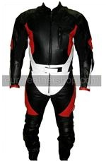 One piece motorcycle racing leather suit black white red colour