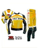 Suzuki GSXR Biker Racing Leather Suit Yellow Color