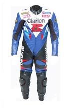 Suzuki Clarion GSXR motorcycle leather suit one piece