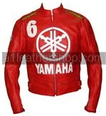 Yamaha 6 Red Color Biker Leather Jacket