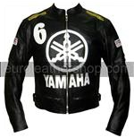 Yamaha 6 black colour biker leather jacket