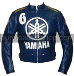 Yamaha 6 blue colour biker leather jacket