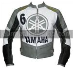 Yamaha 6 motorbike leather jacket grey black white