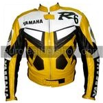 Yamaha R6  Motorbike Leather Jacket Yellow Colour