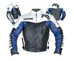 Yamaha R6 motorcycle leather jacket white black