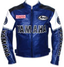 Yamaha Motorcycle Blue Color Cow Hide Leather Jacket