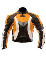 biker fashion leather jacket orange black white co