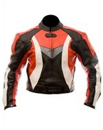 biker fashion leather jacket red black white grey