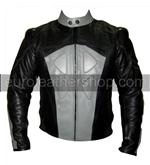 grey and black colour motorbike leather jacket