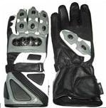 Grey Motorcycle Leather Gloves