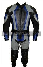 one 1 piece motorcycle leather suit black grey colour