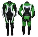 one 1 piece motorcycle leather suit green black colour