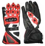 Red Motorcycle Leather Gloves