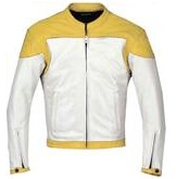 Yellow and White Biker Racing Leather Jacket