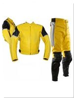 two piece motorcycle leather suit yellow black silver colour