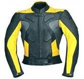 yellow and black colour motorbike leather jacket